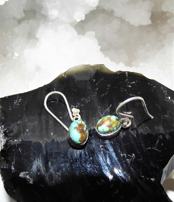 Turquoise Oval Earrings,  Turquoise Drop Earrings, Sterling Silver Earrings,  Gemstone Jewellery