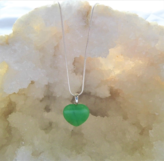 Jade Necklace, Gemstone Necklace, Heart Pendant, Sterling Silver Necklace, Crystals for Healing