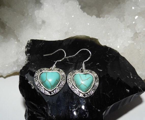 Turquoise Heart Earrings,  Turquoise Drop Earrings, Gemstone Earrings