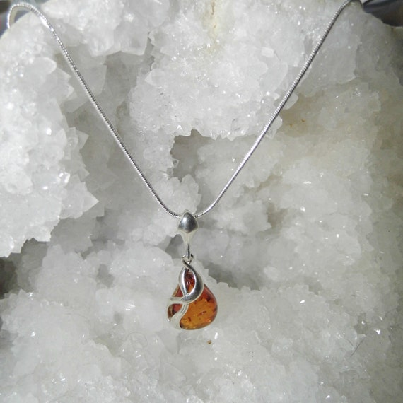 Baltic Amber Teardrop Necklace, Amber Teardrop Pendant and Sterling Silver Necklace, Gemstone Necklace
