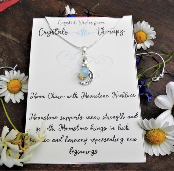 Moonstone on Moon Charm Necklace,  Silver Moon Charm with Moonstone  925 Silver Necklace, Personalised Necklace