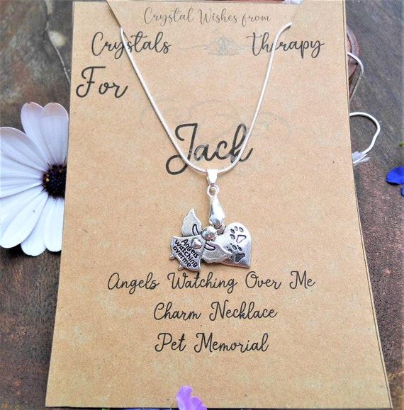 Custom Pet Charm Necklace,  Angels Watching Over Me Pet Pendant, 925 Silver Necklace, Pet Memorial
