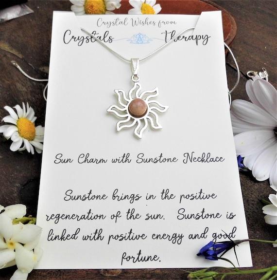 Sunstone Sun Charm Necklace, Sunstone Bead Pendant, 925 Silver Necklace, Personalised Necklace, Sunstone Jewellery