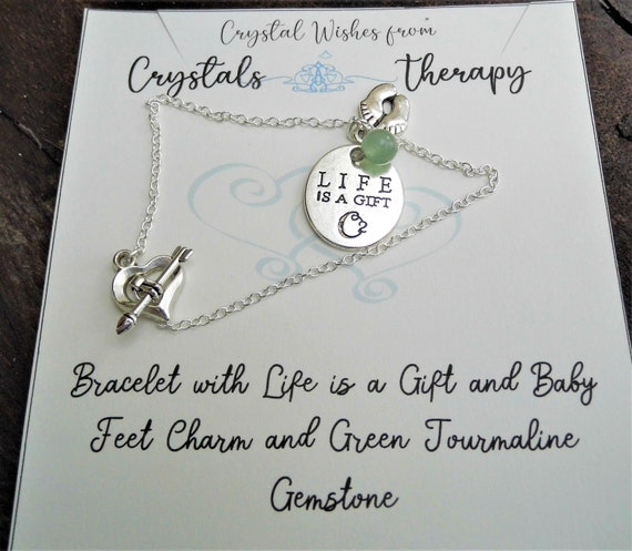 Mum Charm Bracelet with Green Tourmaline, Life is a Gift and Baby Feet Charm Bracelet, Personalised Charm Bracelet