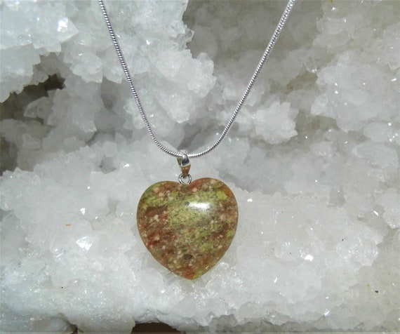 Unakite Necklace,  Unakite Heart Pendant , Sterling Silver Necklace, Gemstone Necklace, Crystals for Healing