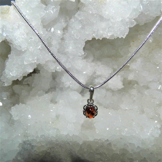 Baltic Amber  Round Pendant Necklace,  Amber and Sterling Silver Pendant Necklace, Gemstone Necklace