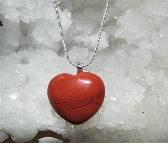 Red Jasper Heart Necklace,  Pendant Necklace, Gemstone Necklace, Sterling Silver Necklace, Crystals for Healing