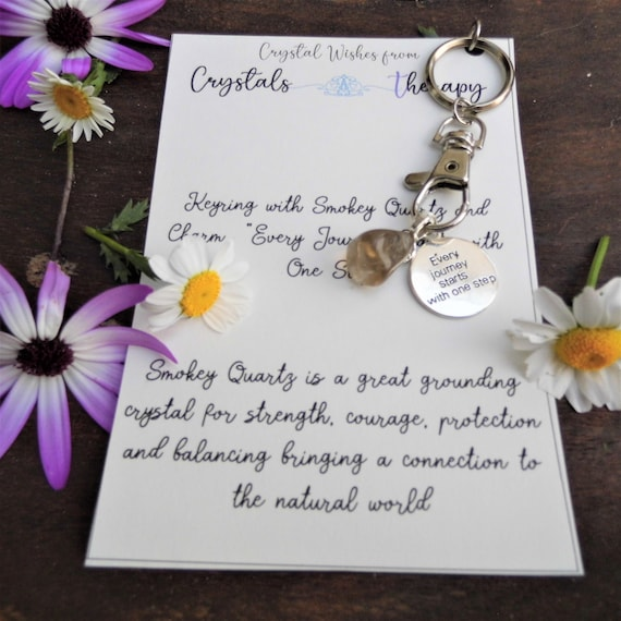 Travel Charm Keyring with Smokey Quartz for Protection, Charm Keyring for Travellers, Personalised Charm Keyring with Smokey Quartz