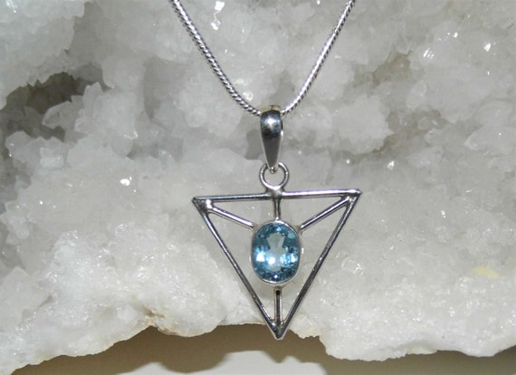 Oval Aquamarine Necklace, Faceted Aquamarine Pendant, Sterling Silver Necklace, Crystals for Healing