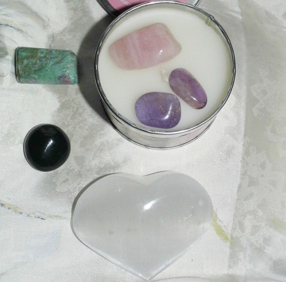 Love Healing Crystals and Incense For Love with Selenite Crystal Heart, Healing Gifts,  Love Therapy Crystals