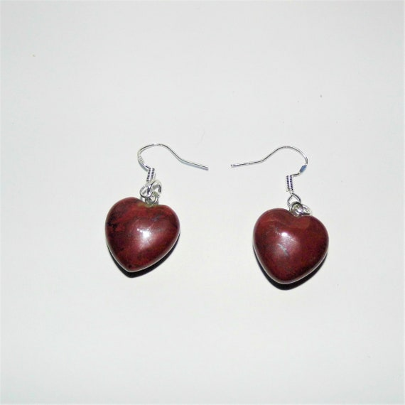 Red Jasper Earrings, Heart Earrings, Sterling Silver Earrings, Gemstone Jewellery, Crystals for Healing