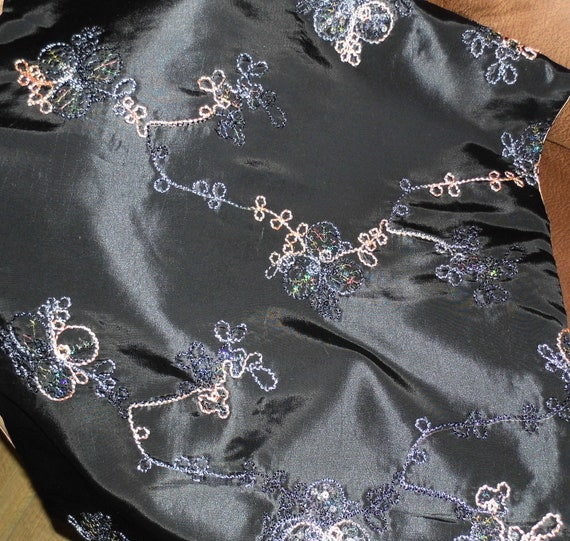 Large Black Evening  Shawl, Black Embroidered Taffeta, Embroidered Shawl, Black Taffeta Shawl