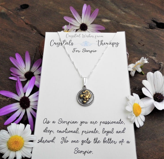 Scorpio Charm Necklace, Zodiac  Charm Pendant, 925 Silver Necklace, Double Sided Scorpio Pendant, Scorpio Gift