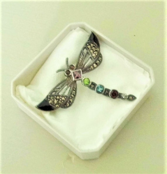 Dragonfly Jewellery Brooch, Costume Jewellery Brooch, Marcasite Brooch