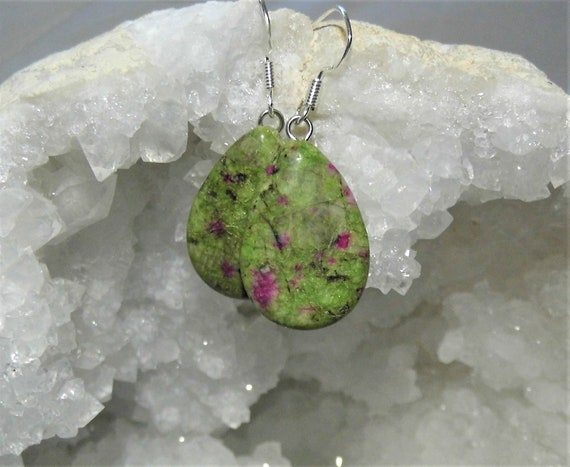 Ruby Fuchsite Teardrop Earrings,  Ruby in Fuchsite Gemstones on Sterling Silver Drop Earrings