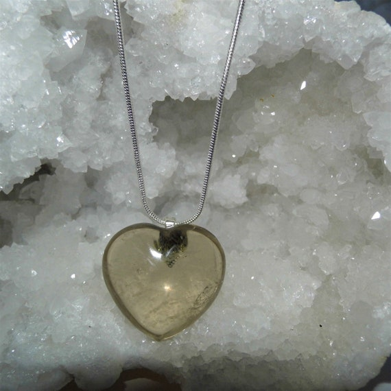 Smokey Quartz Necklace,  Smokey Quartz Heart Pendant and Sterling Silver Necklace, Gemstone Necklace