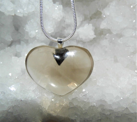 Smokey Quartz Heart Necklace,  Smokey Quartz Pendant Necklace,  Sterling Silver Necklace, Crystal Pendant Necklace