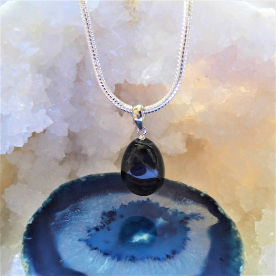 Sterling Silver and Blue Tigers Eye Pendant Necklace,  Teardrop Pendant Necklace,  Healing Gifts