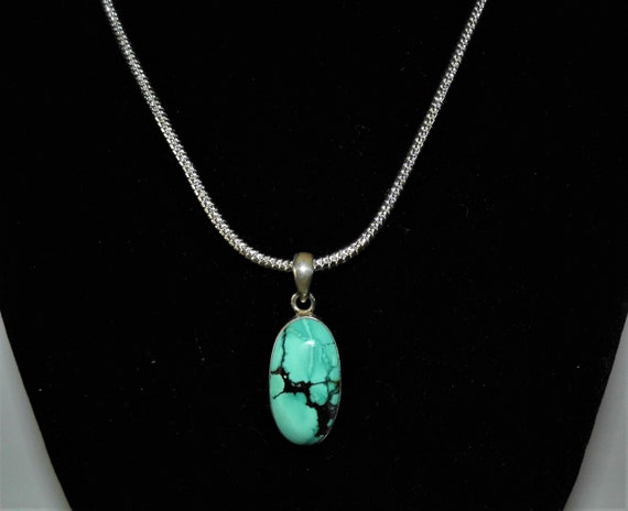 Turquoise Oval Pendant Necklace, Large Turquoise Pendant, Turquoise Necklace, Sterling Silver Pendant Necklace,