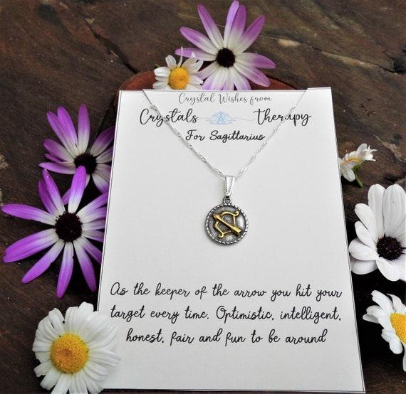 Sagittarius Charm Necklace, Zodiac  Charm Pendant, 925 Silver Necklace, Double Sided Sagittarius Pendant, Sagittarius Gift