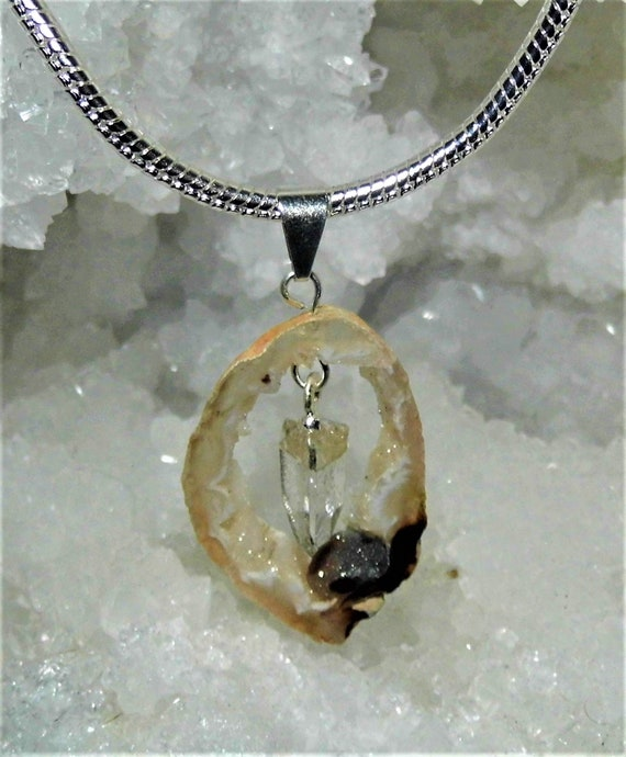 Geode  Quartz Crystal Necklace,  Quartz Crystal,  Sterling Silver Necklace, Pendant Necklace, Clear Quartz Crystal