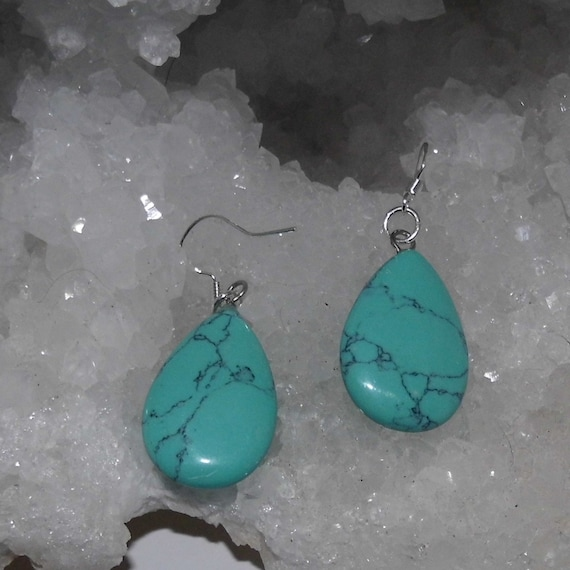 Turquoise Earrings, Teardrop Earrings, Sterling Silver Earrings, Gemstone Jewellery, Crystals for Healing