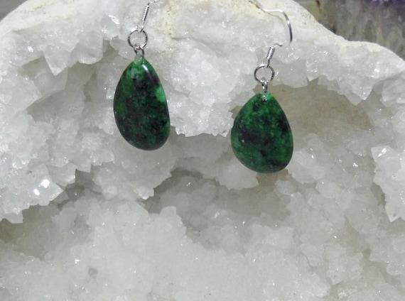 Malachite Earrings, Gemstone Earrings, Sterling Silver Earrings, Teardrop Earrings, Crystals for Healing