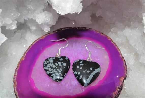 Snowflake Obsidian Earrings,  Obsidian Heart Earrings, Drop Earrings, Sterling Silver Earrings, Gemstone Earrings