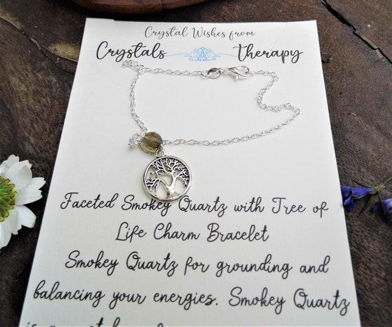 Smokey Quartz Charm Bracelet, Tree of Life Charm Bracelet, Personalised Charm Bracelet, Smokey Quartz Bracelet