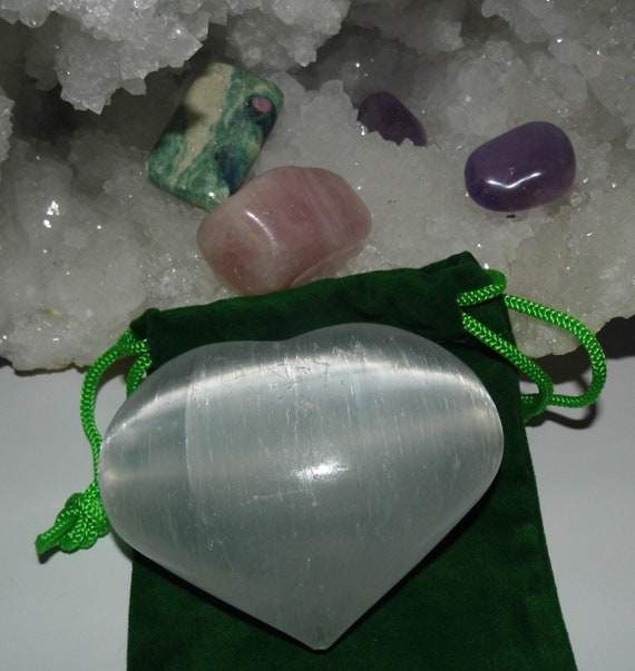 Love Healing Crystals  with Selenite Crystal Heart,  Love Crystals for Healing, Healing Gifts, Therapy Crystals
