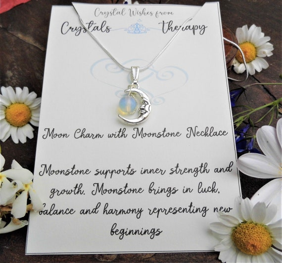 Moonstone Bead Necklace,  Moonstone with a Moon Charm Pendant on a 925 Silver Necklace, Personalised Necklace