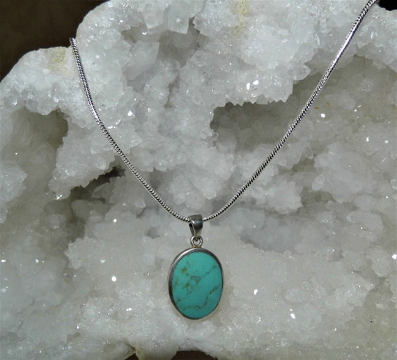 Turquoise Oval Silver Pendant, Turquoise Necklace, Turquoise Oval Pendant, Sterling Silver Necklace