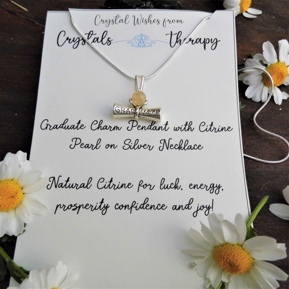 Graduate Charm Necklace, Citrine and Graduate Charm Pendant, 925 Silver Necklace, Personalised Necklace, Jewellery Gift