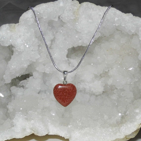 Goldstone  Heart  Necklace,  Goldstone Pendant Necklace, Sterling Silver Necklace, Crystals for Healing