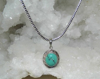 Turquoise Filigree Necklace, Turquoise Oval Pendant,  925 Silver  Pendant Necklace, Sterling Silver Turquoise Pendant Necklace,