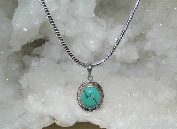Turquoise Oval  Necklace, Turquoise and 925 Silver Filigree Pendant, Turquoise Necklace, Sterling Silver Pendant Necklace,