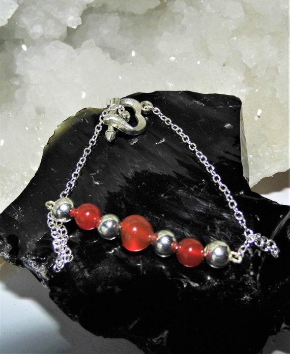 Carnelian Bead  Bracelet, Carnelian Beaded Silver Chain Bracelet,  925 Silver Bracelet with Carnelian Beads