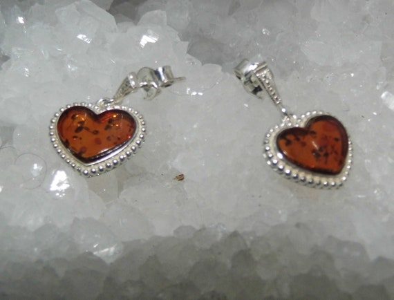 Baltic Amber Earrings, Sterling Silver Earrings, Amber Jewelry, Heart Earrings, Crystals for Healing
