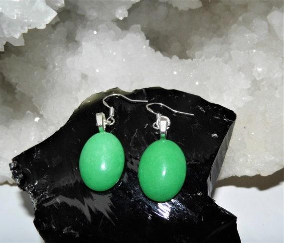 Green Jade Earrings, Jade Oval Earrings, Sterling Silver Earrings,  Drop Earrings, Crystals for Healing