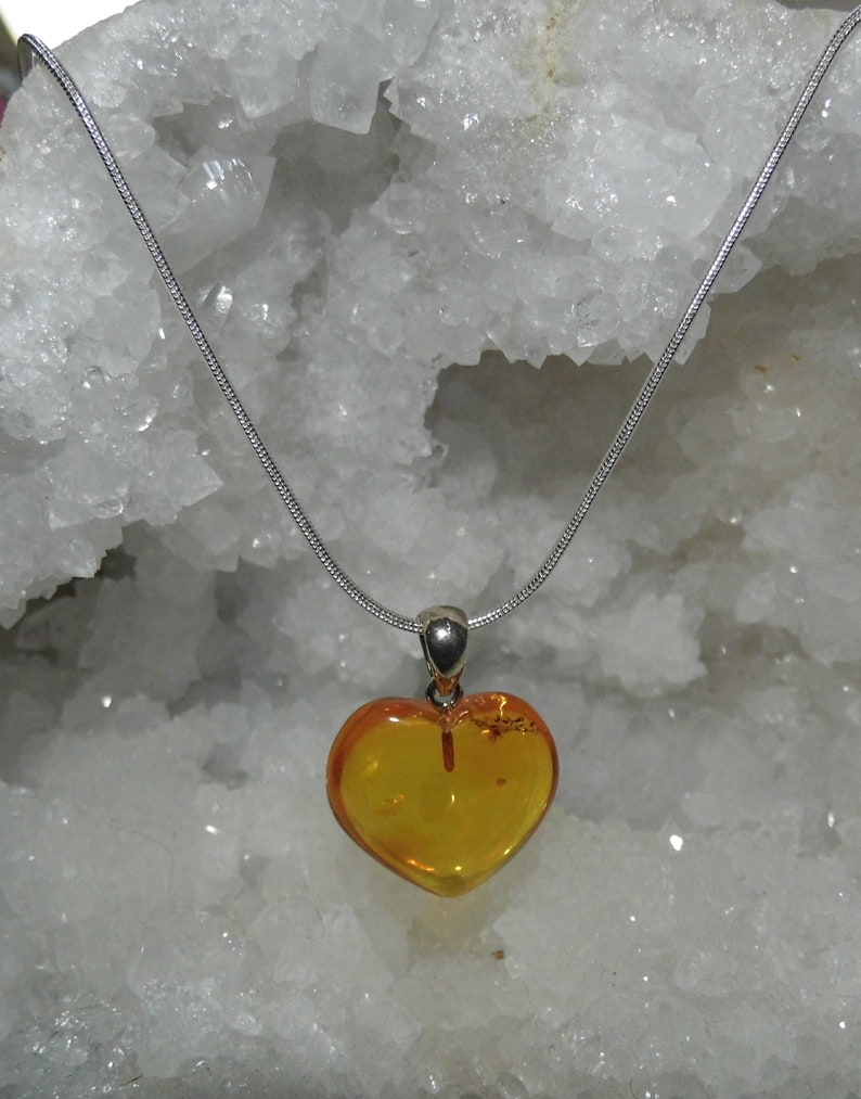 Amber and Sterling Silver Pendant Necklace Love Gifts Baltic Amber Heart Necklace Amber Heart Pendant