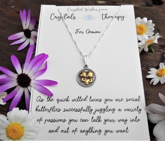 Gemini Charm Necklace, Zodiac  Charm Pendant, 925 Silver Necklace, Double Sided Gemini Pendant, Gemini Gift