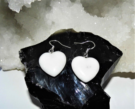 White Jade Earrings, Heart Gemstone Earrings, Sterling Silver Earrings, Crystals for Healing