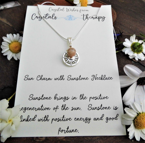 Sunstone Charm Necklace, Sun Charm  Sunstone Bead Pendant, 925 Silver Necklace, Personalised Necklace, Sunstone Jewellery