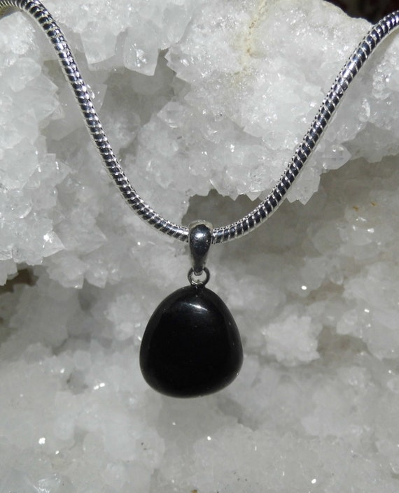 Black Agate Necklace, Teardrop Pendant, Gemstone Necklace, Sterling Silver Necklace, Crystals for Healing