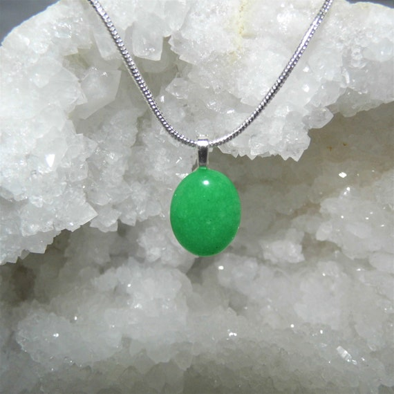 Green Jade Oval Necklace,  Jade Oval Pendant, Sterling Silver Necklace, Gemstone Necklace, Crystals for Healing