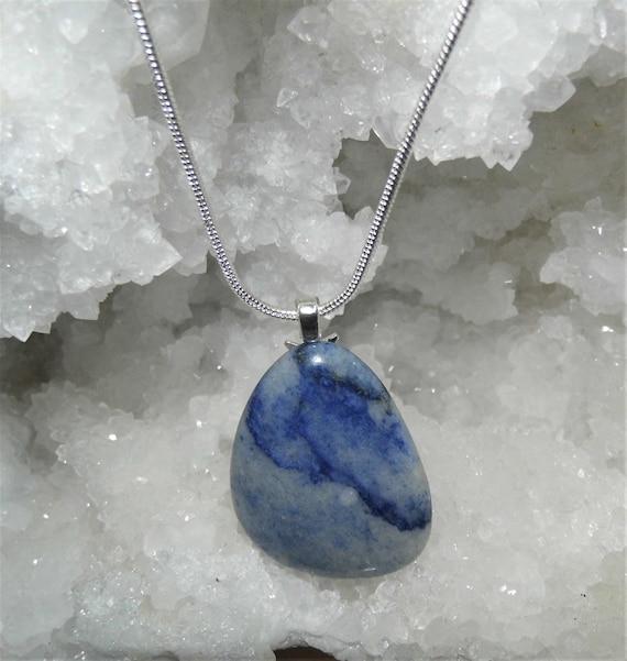 Blue Quartz Pendant Necklace,  Blue Quartz Pendant, Sterling Silver Necklace, Quartz Necklace