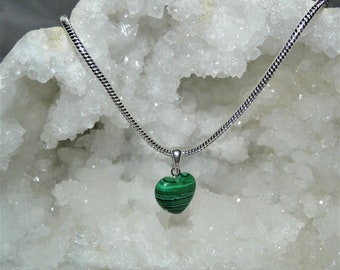Malachite Necklace, Pendant Necklace, Sterling Silver Necklace, Heart Necklace, Crystals for Healing