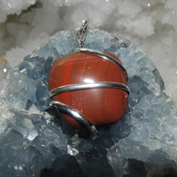 Red Jasper Wire Wrap Silver Pendant Necklace