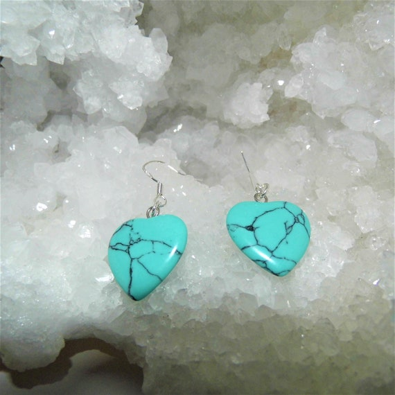 Turquoise Earrings, Heart Earrings, Sterling Silver Earrings, Gemstone Jewellery, Crystals for Healing