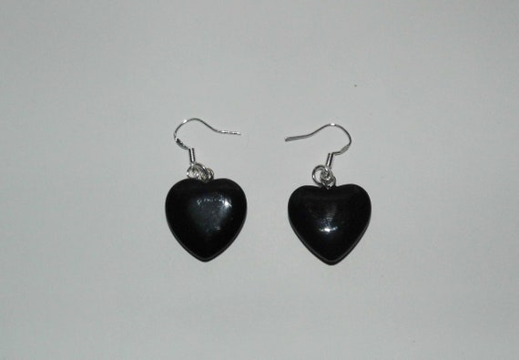Black Obsidian Earrings, Gemstone Earrings, Sterling Silver Earrings, Heart Earrings, Crystals for Healing